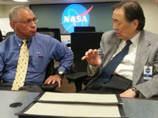 photograph of Dr. Taylor Wang with NASA Administrator Charles Bolden
